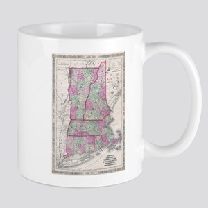 Vintage Map of New England States (1864) Mugs
